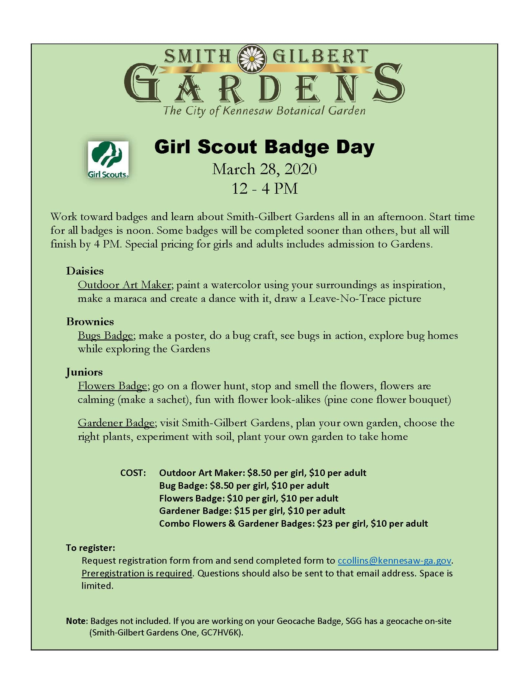 Girl Scout Badge Day flyer